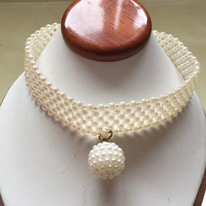 White Pearl-Like Choker Necklace